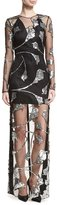 Thierry Mugler Sequined Lily-Embroidered Illusion Gown