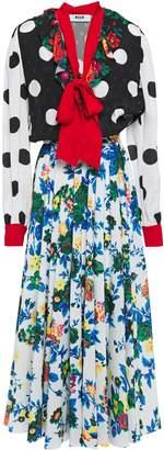 MSGM Pussy-bow Printed Crepe And Jacquard Midi Dress
