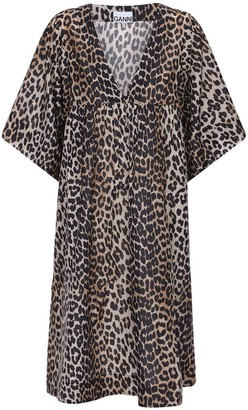 Ganni Leopard Print Cotton & Silk Dress