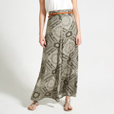 Apricot Khaki & Cream Patchwork Tile Print Maxi Skirt