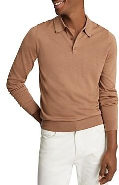 Reiss Trafford Merino Wool Long Sleeve Polo