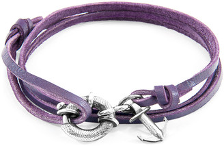 ANCHOR & CREW Grape Purple Clyde Anchor Silver And Flat Leather Bracelet