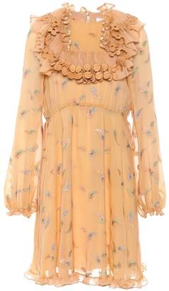 Chloé Ruffled silk-blend minidress