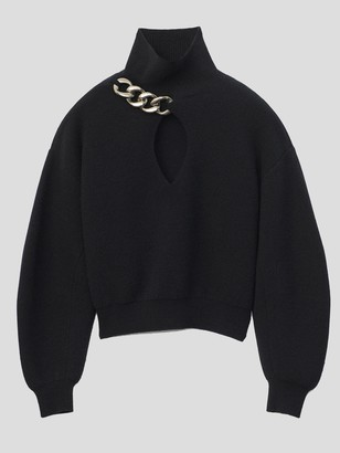 Alexander Wang Turtleneck Keyhole Sweater With Chain