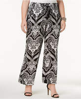 INC International Concepts Plus Size Printed Wide-Leg Pants, Created for Macy's