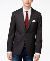 DKNY Men's Slim-Fit Gray and Burgundy Check-Pattern Sport Coat