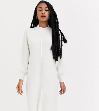 Asos DESIGN Petite fluffy midi dress with seam detail