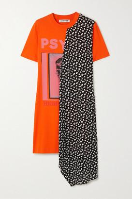McQ Asymmetric Printed Crepe And Cotton-jersey Mini Dress - Orange