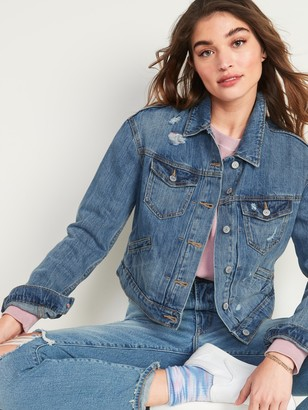 Old Navy Cropped Distressed Jean Jacket for Women