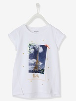 Vertbaudet Girls Printed T-Shirt with Sequins & Bow