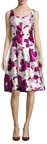 Oscar de la Renta Sleeveless Printed Scoopneck Flared Dress