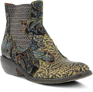 Spring Step L'Artiste by Metallic Leather Booties - Giona