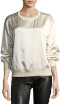 Theory Massar Vintage Silk Satin Sweatshirt