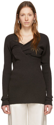 Bottega Veneta Brown Draped Knit Sweater