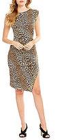 MICHAEL Michael Kors Stud Trim Side Slit Panther Print Matte Jersey Dress