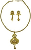 Matra Tone Kundan Stone Indian Wedding 2 Pcs Pendant Necklace Earrings Set Jewelry