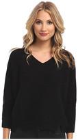 Michael Stars Chunky Rib 3/4 Sleeve High-Low V-Neck Sweater
