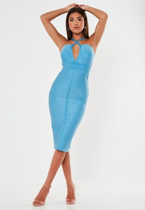 Missguided Premium Blue Bandage Multiway Strap Plunge Midi Dress