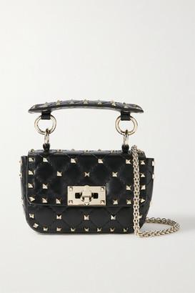 Valentino Garavani Rockstud Spike Micro Quilted Leather Shoulder Bag - Black