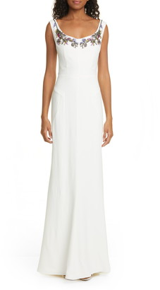 Alexander McQueen Embellished Neck Crepe Sheath Gown