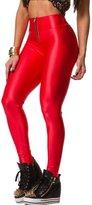 Pink Queen Womens Zipper Front Skinny High Waisted Wet Look Leggings Pencil Pants (M, )