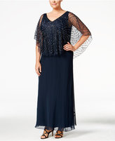 J Kara Plus Size Beaded V-Neck Capelet Gown