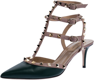 Valentino Green Leather Rockstud Strappy Pointed Toe Sandals Size 40