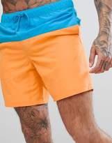 Asos Swim Shorts In Blue & Orange Panels In Mid Length
