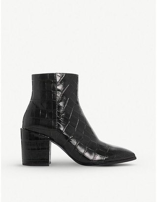 Dune Optimum mock-croc patent leather ankle boots