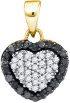 GnD 10kt Yellow Gold Womens Round Colored Diamond Small Heart Love Pendant 1/3 Cttw