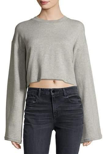 Alexander Wang Tie-Back Long-Sleeve Sweatshirt, Gray