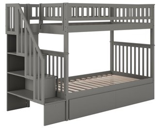 Atlantic Furniture Woodland Staircase Bunk Bed Twin over Twin with 2 Urban Bed Drawers in Grey