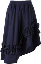 Cédric Charlier asymmetric ruffle-trim skirt - women - Cotton/other fibers - 42