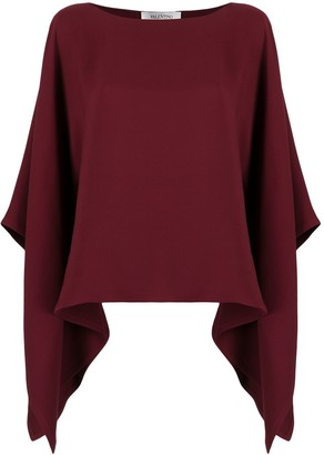 Valentino Cape-Style Draped Sleeves Blouse