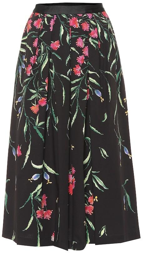 Carolina Herrera Floral stretch-cotton midi skirt