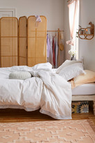 Urban Outfitters Washed Cotton Crochet Ruffle Duvet Cover