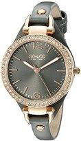 SO&CO New York Women's 5061.1 SoHo Quartz Rose Tone Case Grey Slim Leather Strap Watch