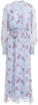 Joie Ruffle-trimmed Shirred Floral-print Silk-crepon Midi Dress