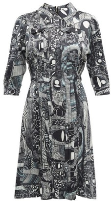 Charles Jeffrey Loverboy Abstract Print Pleat Front Silk Dress - Black White