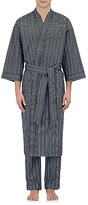 Barneys New York Men's Striped Robe-Navy