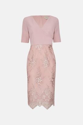 Coast Wrap Front Embroidered Midi Skirt Dress