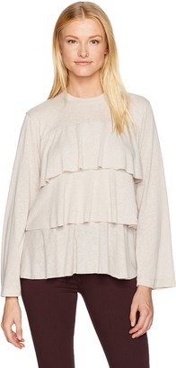 David Lerner Women's Bell Sleeve Tiered Ruffle Top