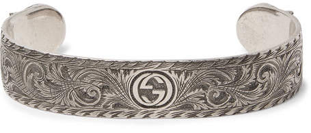 Gucci Engraved Sterling Silver Cuff - Silver