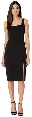 Milly Cady Rita Square Neck Midi Dress (Black) Women's Clothing