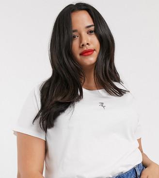 Asos DESIGN Curve t-shirt with tiny rose organic cotton-Black