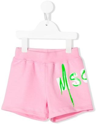 Msgm Kids Logo Print Track Shorts