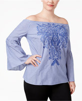 INC International Concepts Plus Size Cotton Off-The-Shoulder Top, Created for Macy's
