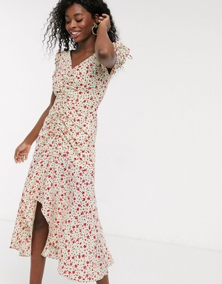 C/Meo Intersect ruched floral midi dress in citron ditsy