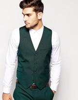Asos Slim Fit Vest In Green Pindot