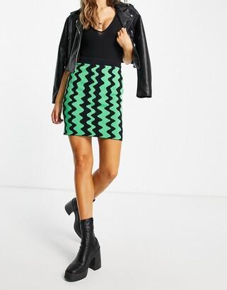 Monki Boya wavy mini knit skirt co-ord in multi